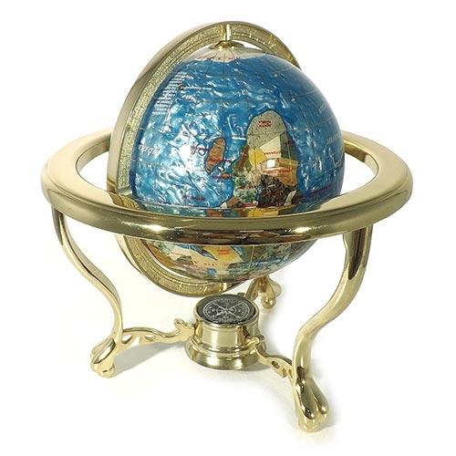 Globo Dourado c/ Pedras Semi-Preciosas Fullway - Rotação Dupla - 25x23 cm