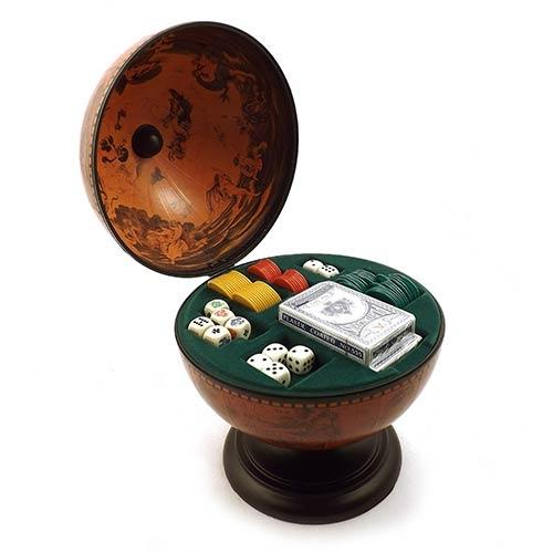 Globo Escuro Poker Oldway - Base de Madeira - 30x22 cm