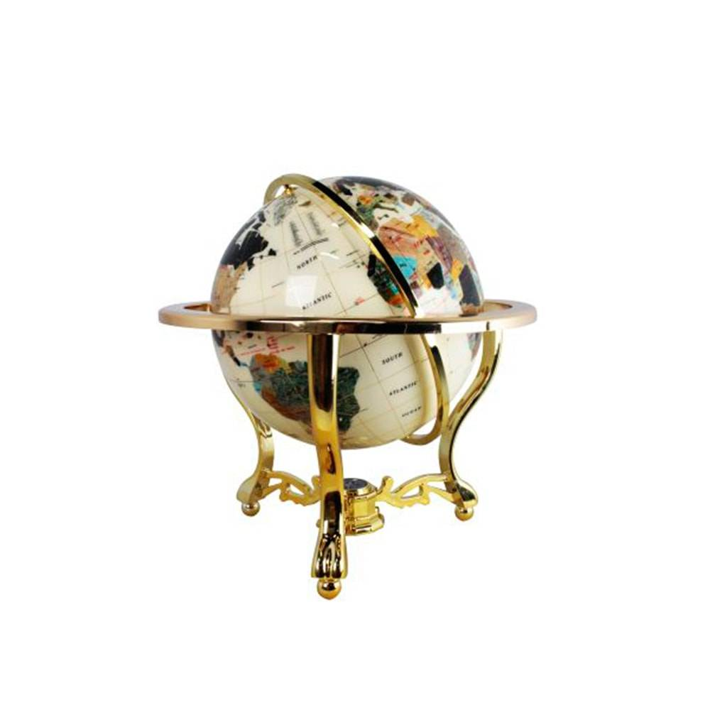Globo de Pedras Tripé Dourado c/ Bússola Goldway - 38x35 cm