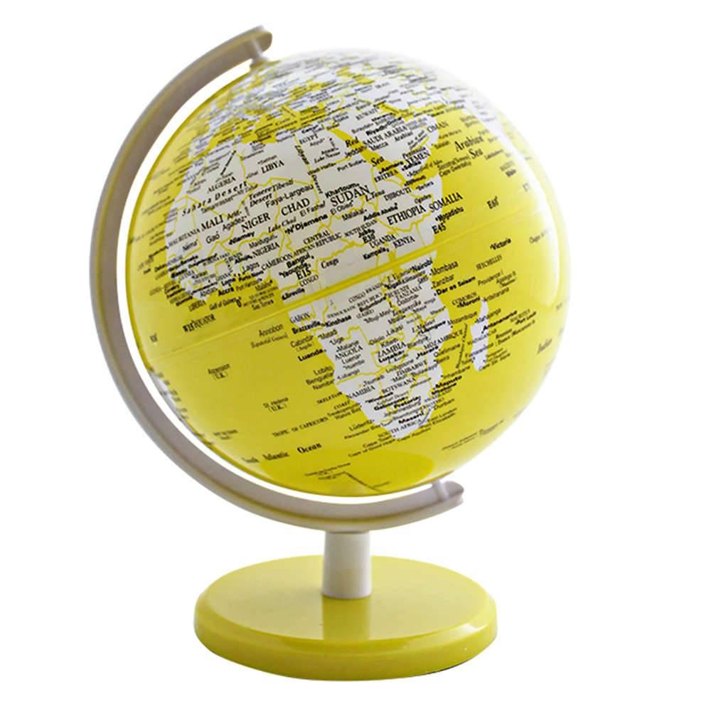 Globo Pequeno Mapa Mundi Amarelo em Polipropileno - Urban - 18x13 cm