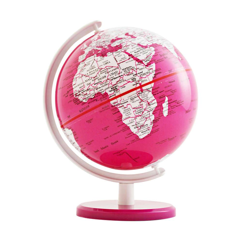 Globo Pequeno Mapa Mundi Rosa em Polipropileno - Urban - 18x13 cm