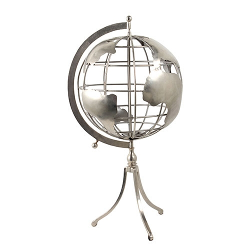 Globo Prateado Fullway - Metal Vazado - 62x31 cm