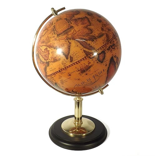 Globo Topográfico Aço Escovado e Madeira Oldway - 52x34 cm