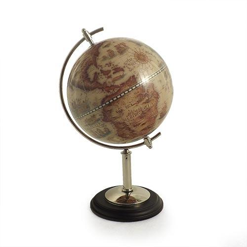 Globo Topográfico Aço Escovado e Resina Fullway - 38x22 cm