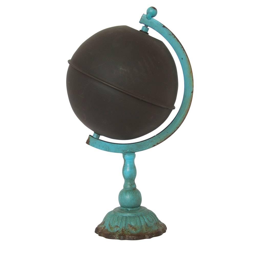 Globo Vintage Azul/Preto Pequeno em Ferro - 31x18 cm