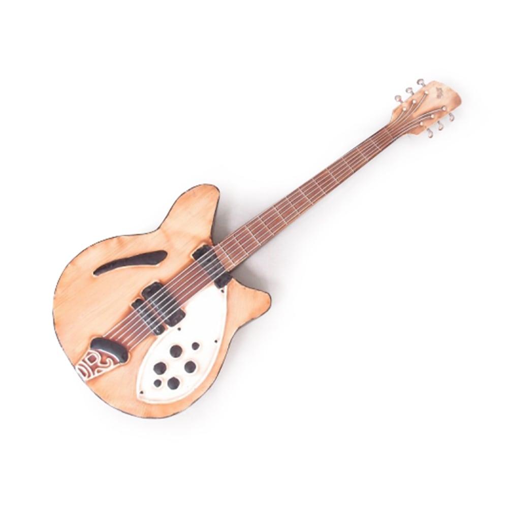 Guitarra Decorativa de Parede Amarela e Branca em Metal - 90x30 cm