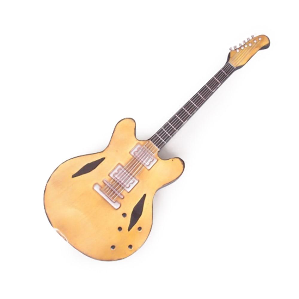 Guitarra Decorativa de Parede Amarela e Preta em Metal - 90x30 cm