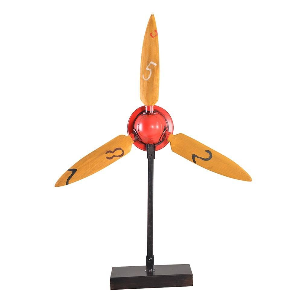 Hélice de Avião Decorativa Modelo Red Aeroplane Propeller em Madeira - 67x48 cm