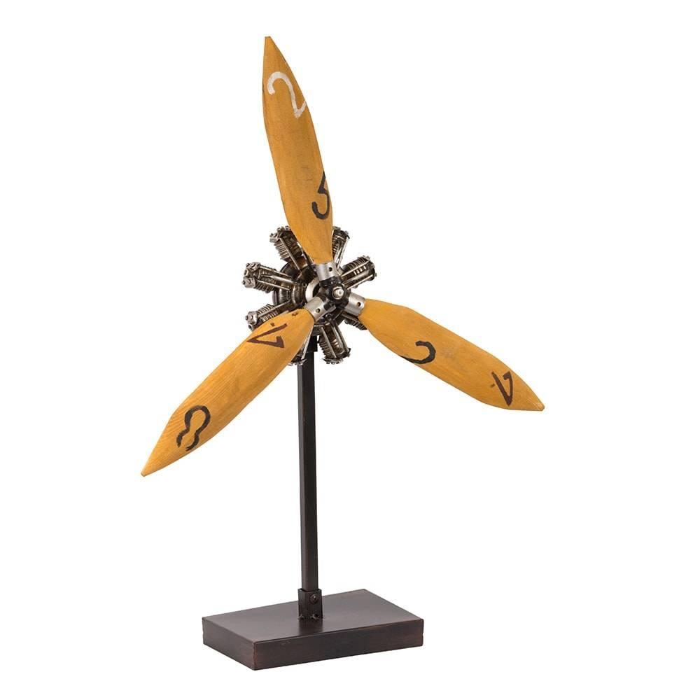 Hélice de Avião Decorativa Propeller of Corsair Amarela em Madeira - 61x40 cm