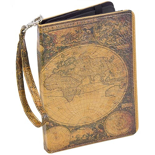 Case para Ipad Mapa Mundi Oldway Marrom em PU - 25x20 cm