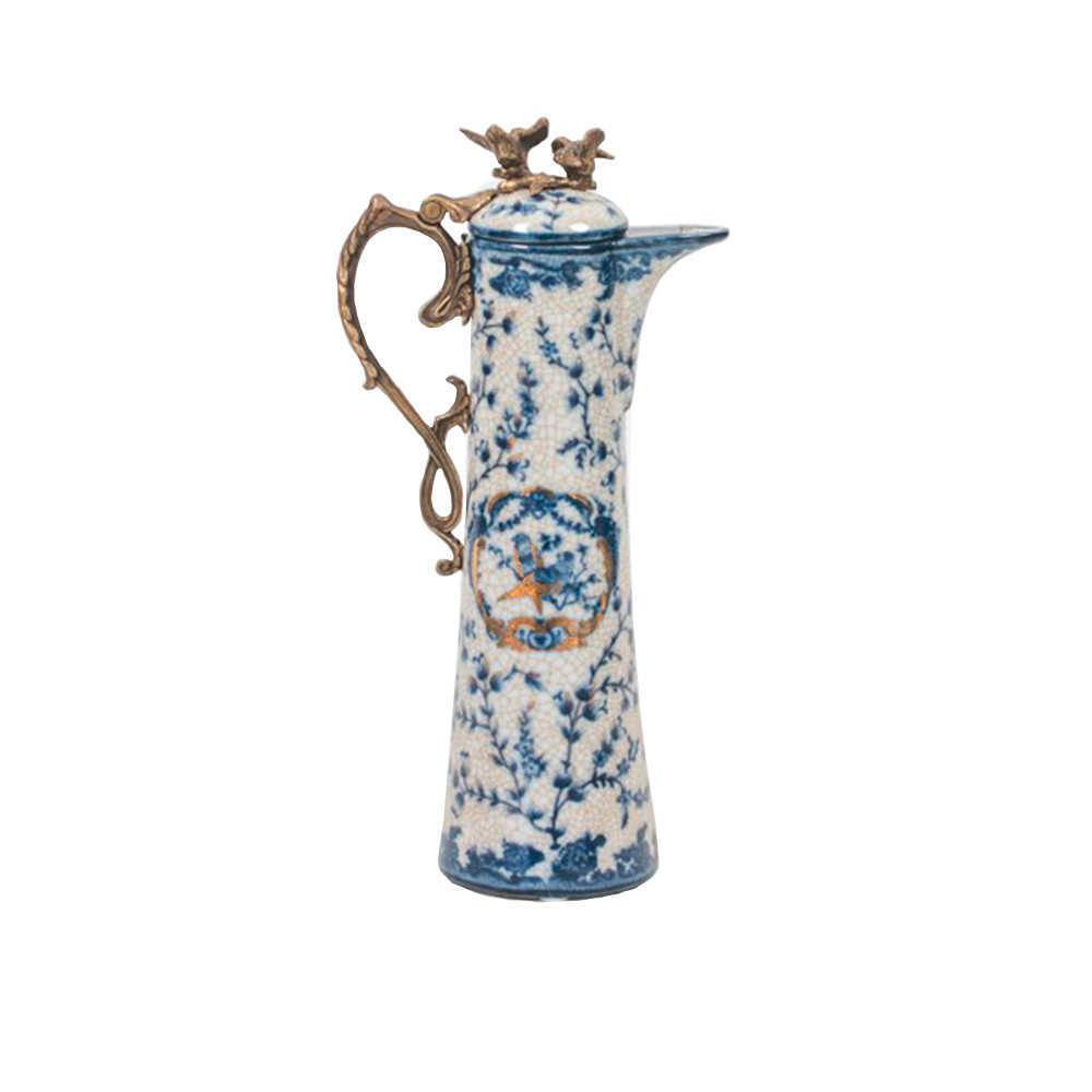 Jarra Decorativa Cambui Branco e Azul em Porcelana - 31x17 cm