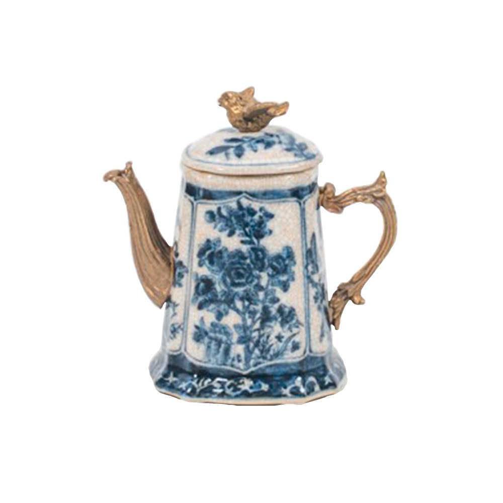 Jarra Decorativa Flores Azuis em Porcelana com Detalhes Banhado a Bronze - 15x13 cm