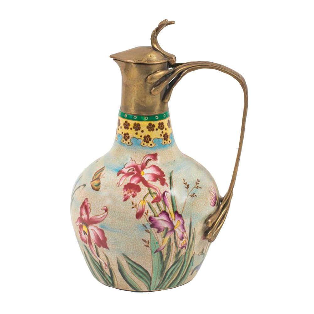 Jarra Decorativa Solis Floral em Porcelana com Detalhes Banhado a Bronze - 29x18 cm