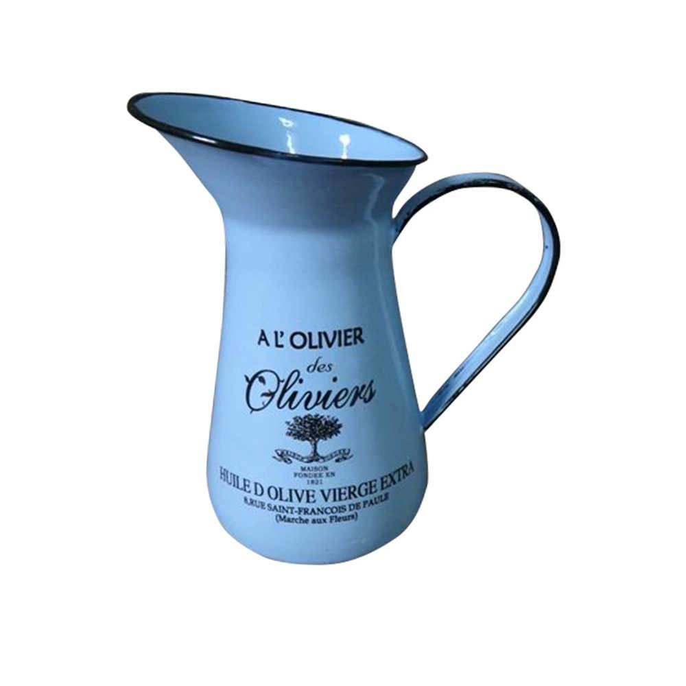Jarro Olivier Wide Open Azul em Metal Esmaltado - Urban - 20x12 cm