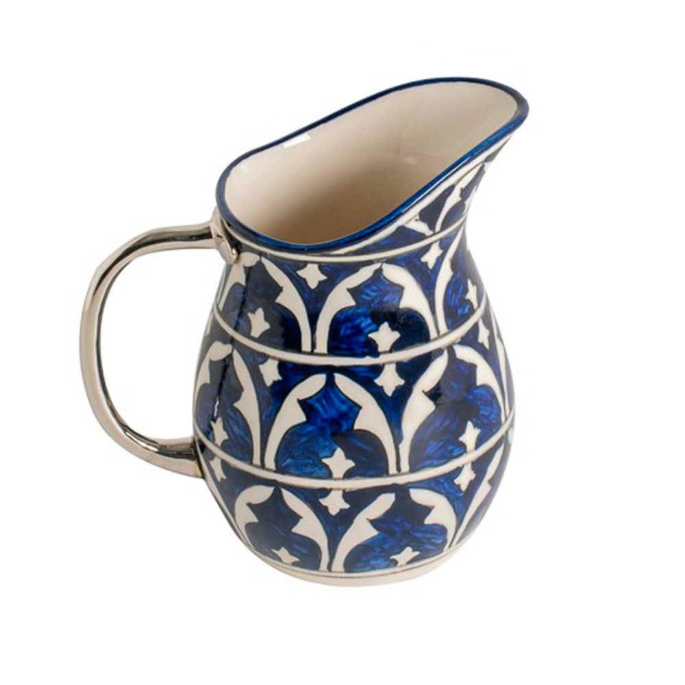 Jarro Estampado Azul e Branco em Cerâmica com Alça em Aço Inox - 22x20 cm