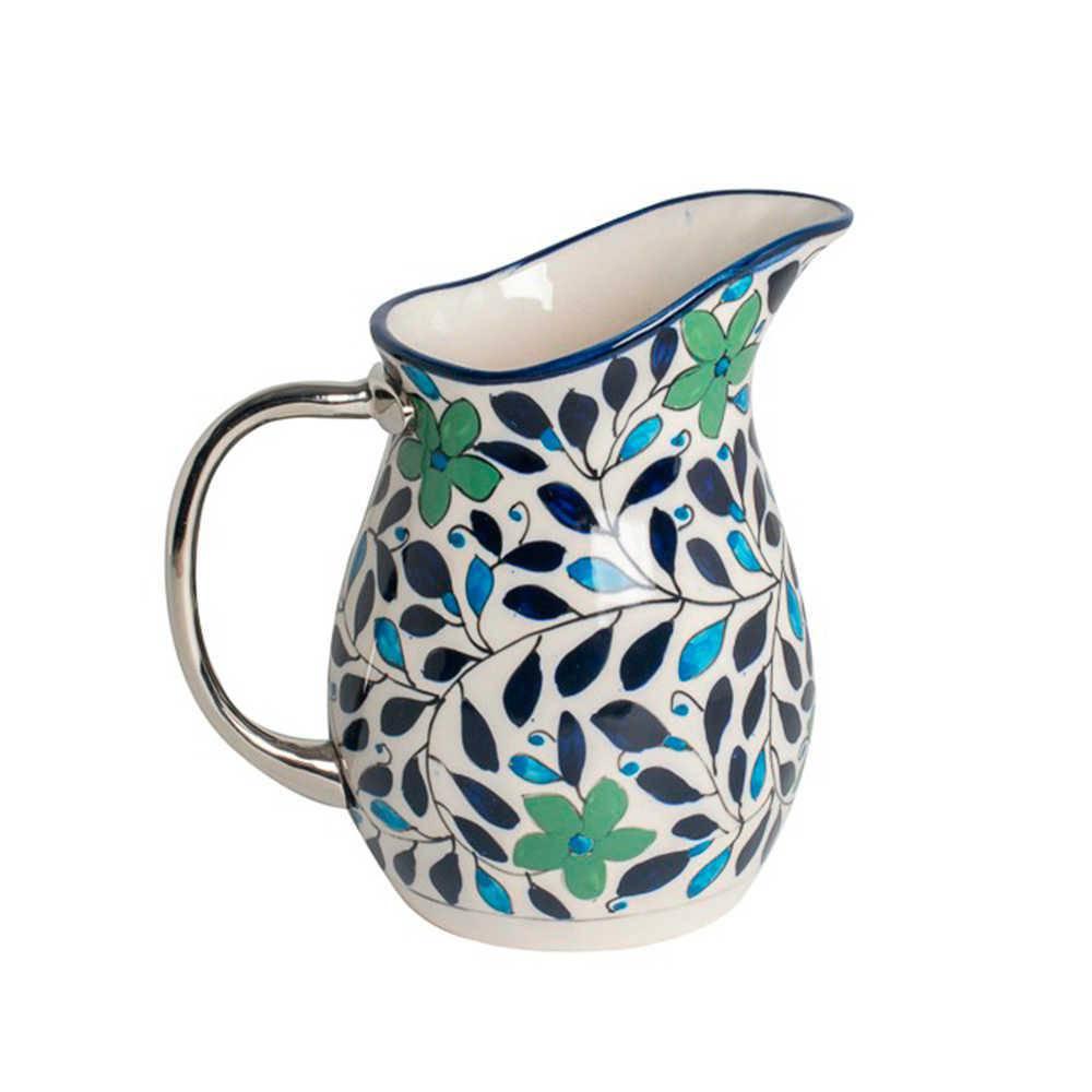 Jarra Estampada Flores Verdes com Folhas Azuis em Cerâmica com Alça em Aço Inox - 22x20 cm