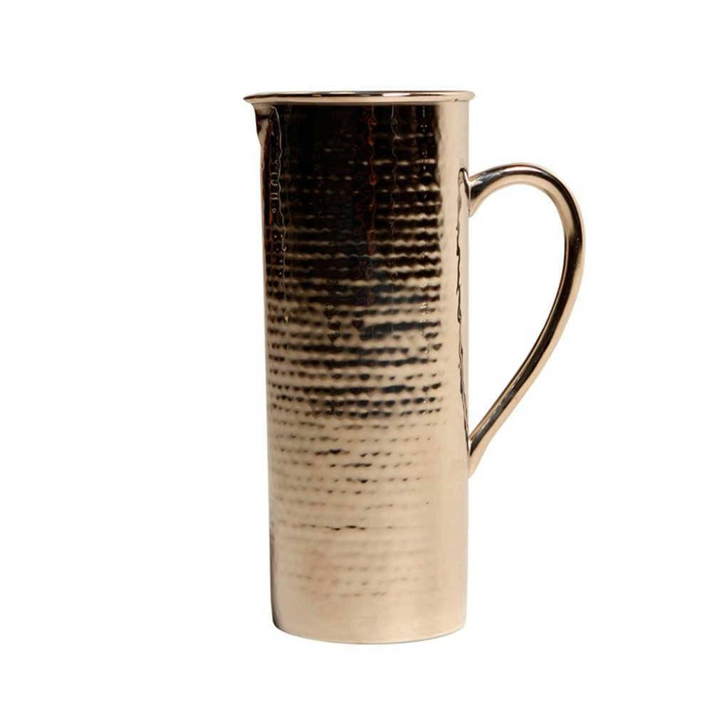 Jarra Longílinea Prata em Metal Banhada a Níquel - 26x17 cm