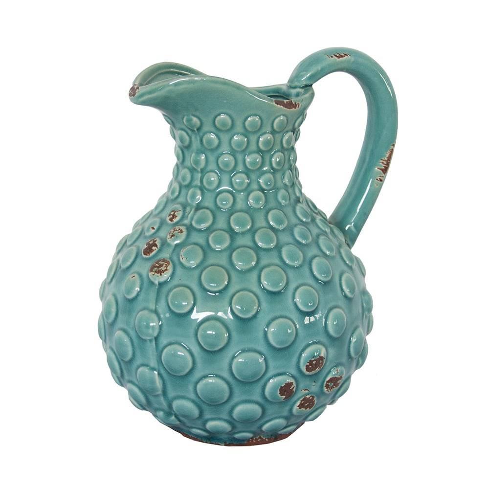 Jarro Lollia Turquesa c/ Relevo em Cerâmica - 23x19 cm