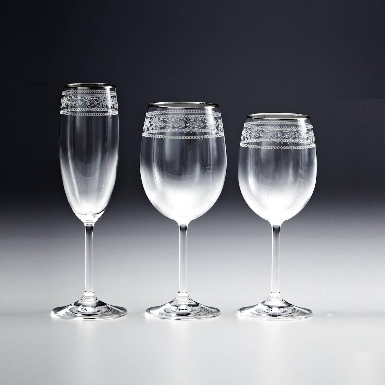 Conjunto de Taças Ingrid Gala Pantografadas - 18 Peças - em Cristal - Rona