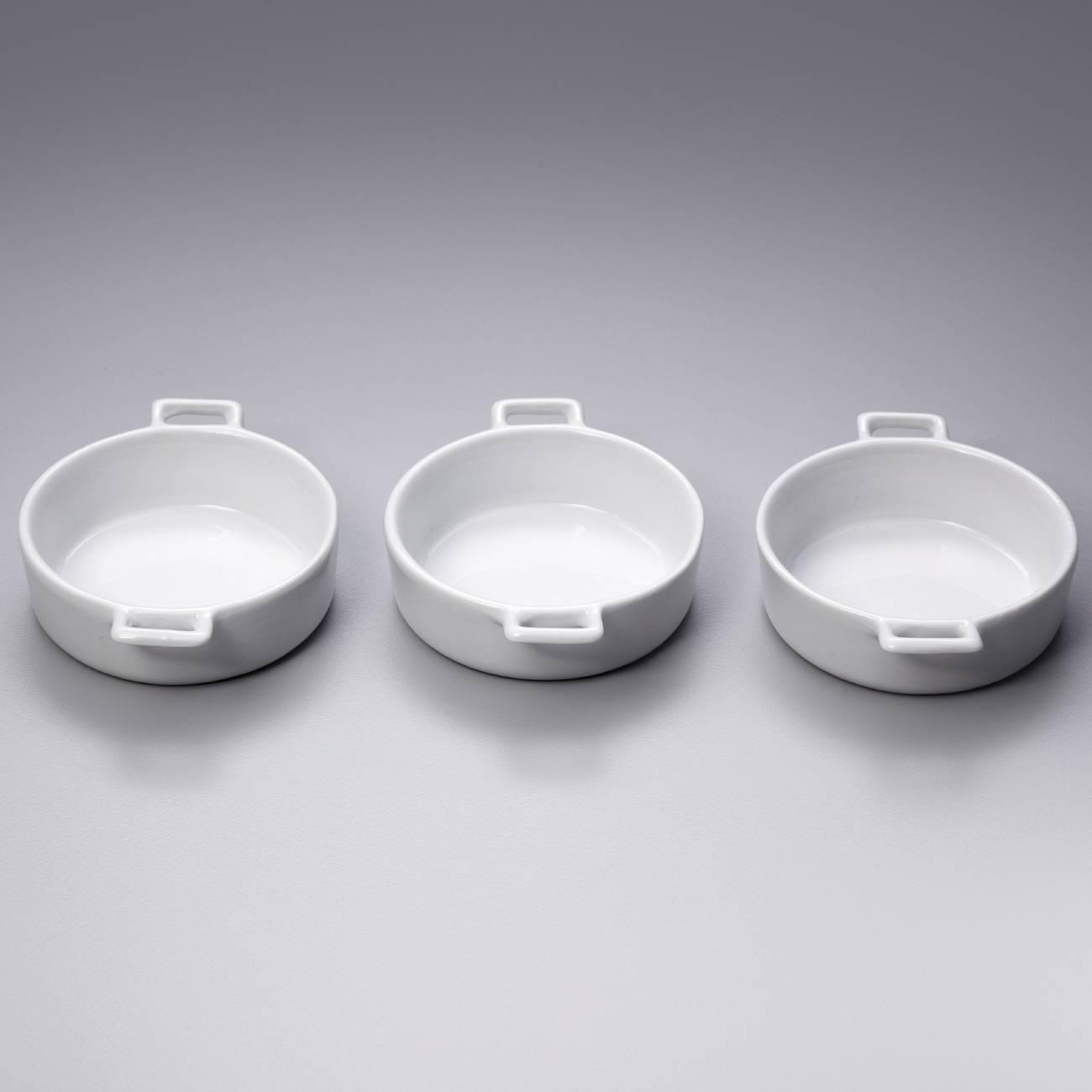 Conjunto 3 Petisqueiras Brancas c/ Alça - Bon Gourmet - 11,4x9 cm