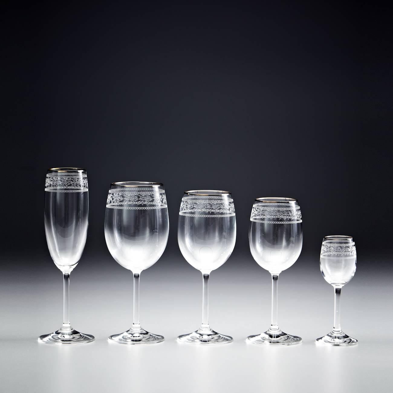 Conjunto de Taças Venus Gala Pantografadas Ouro - 30 Peças - em Cristal - Rona