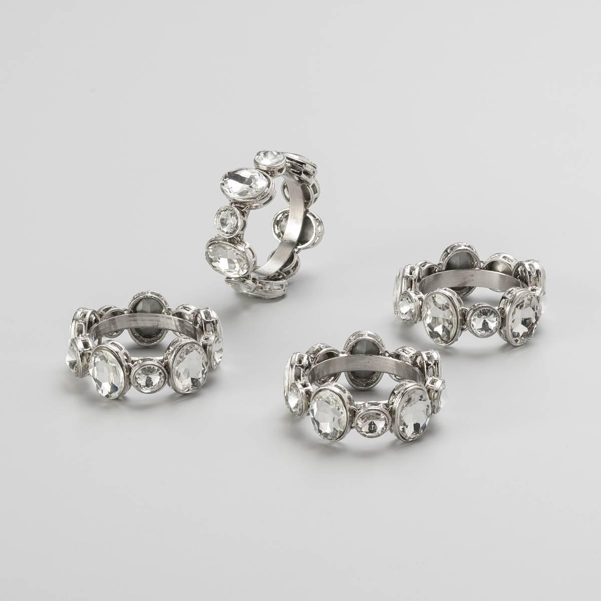 Anéis Porta Guardanapo Luxe em Prata c/ Pedras - 4 Peças - Wolff - Delhi