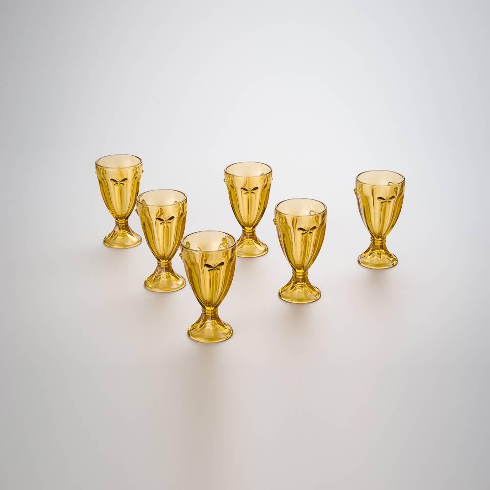 Conjunto 6 Copos para Água Borboleta Ambar - 240 ml - em Vidro - Bon Gourmet