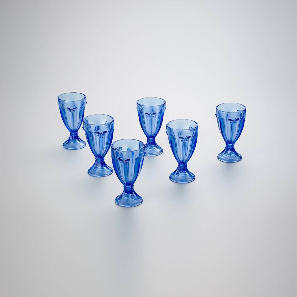 Conjunto 6 Copos para Água Borboleta Azul - 240 ml - em Vidro - Bon Gourmet