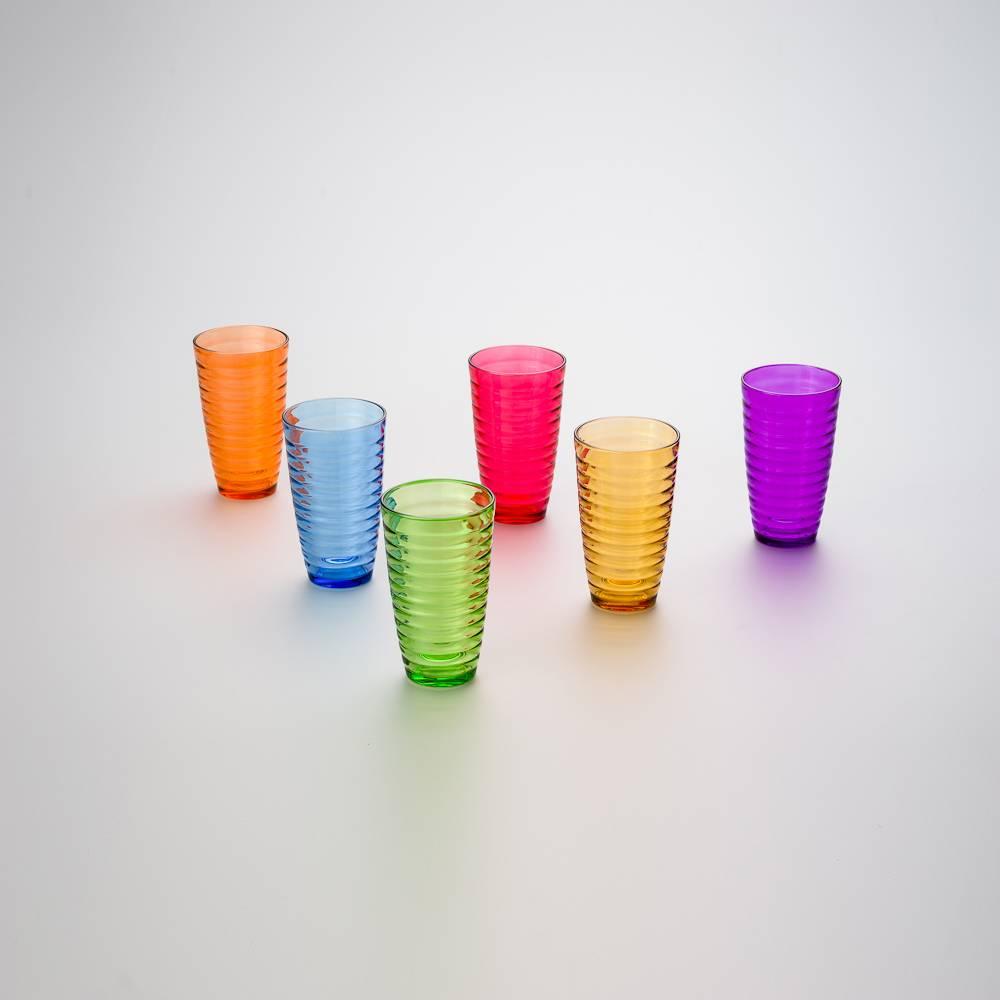 Conjunto 6 Copos Circle Coloridos - 470 ml - em Vidro - Bon Gourmet