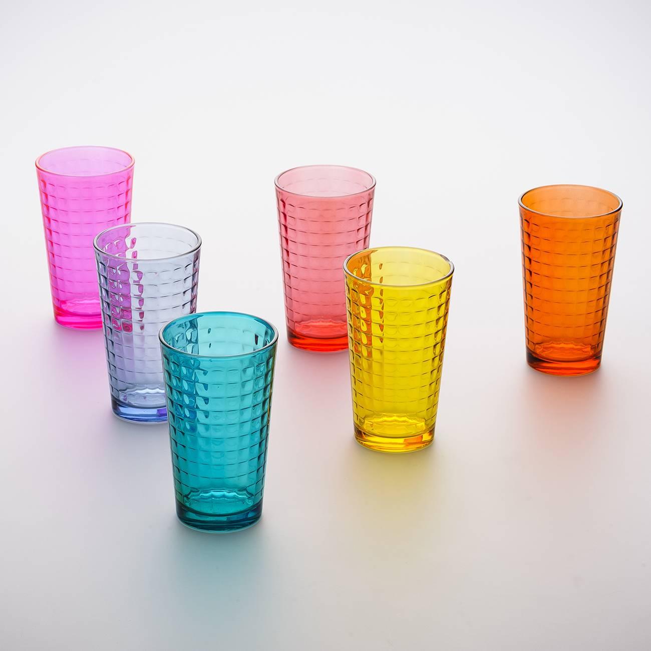 Conjunto 6 Copos Xadrez Coloridos - 325 ml - em Vidro - Bon Gourmet