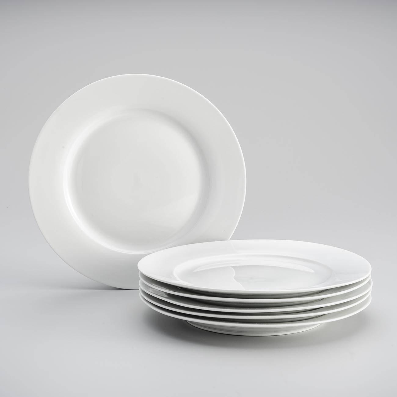 Conjunto 6 Pratos de Jantar Brancos em Porcelana - Wolff