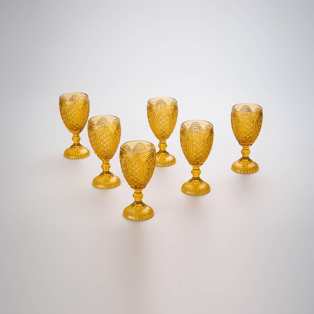 Conjunto de Taças para Água Paty Âmbar - 6 Peças - 280 ml - em Vidro - Bon Gourmet