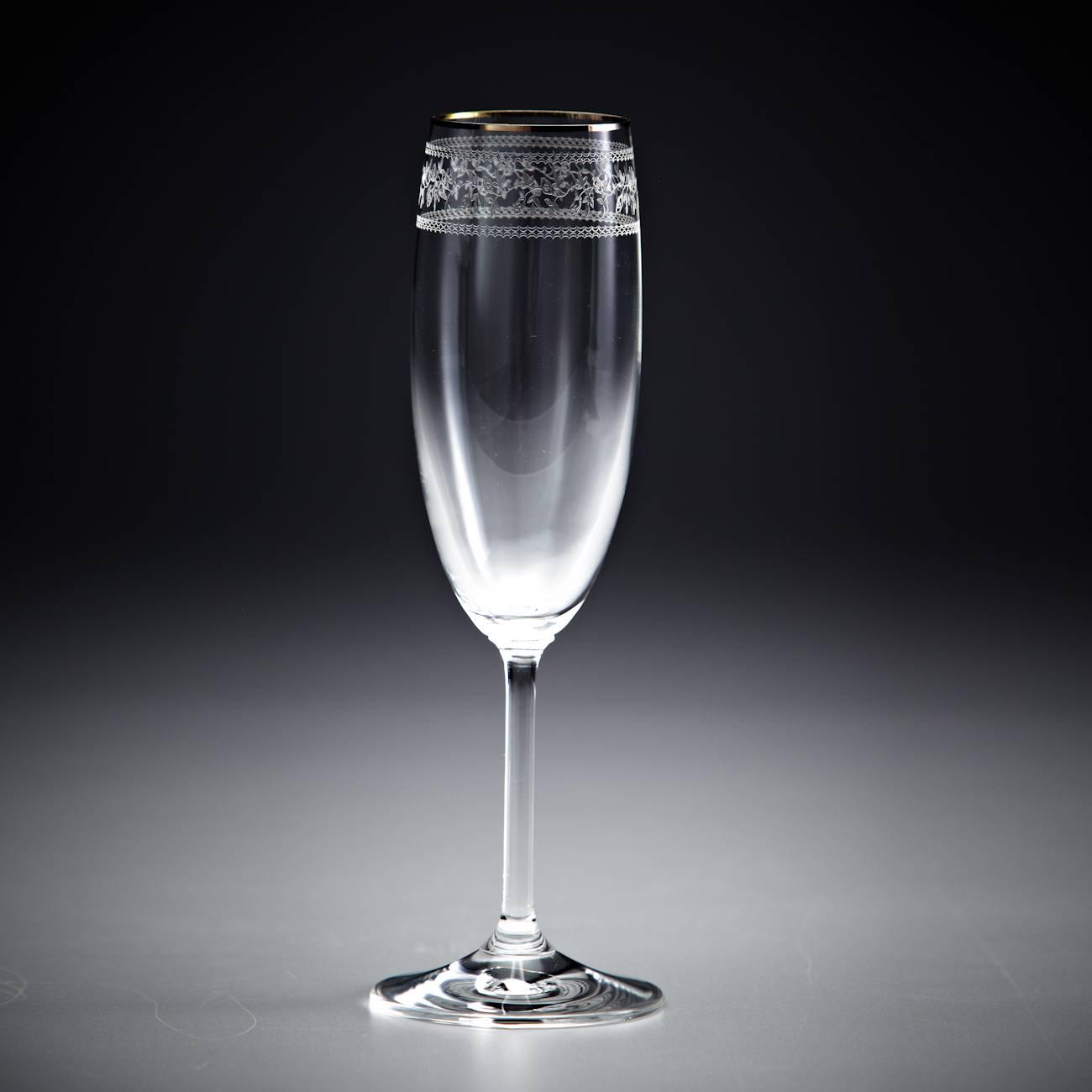 Conjunto de Taças para Champagne Gala Pantografadas Ouro - 6 Peças - em Cristal - Rona