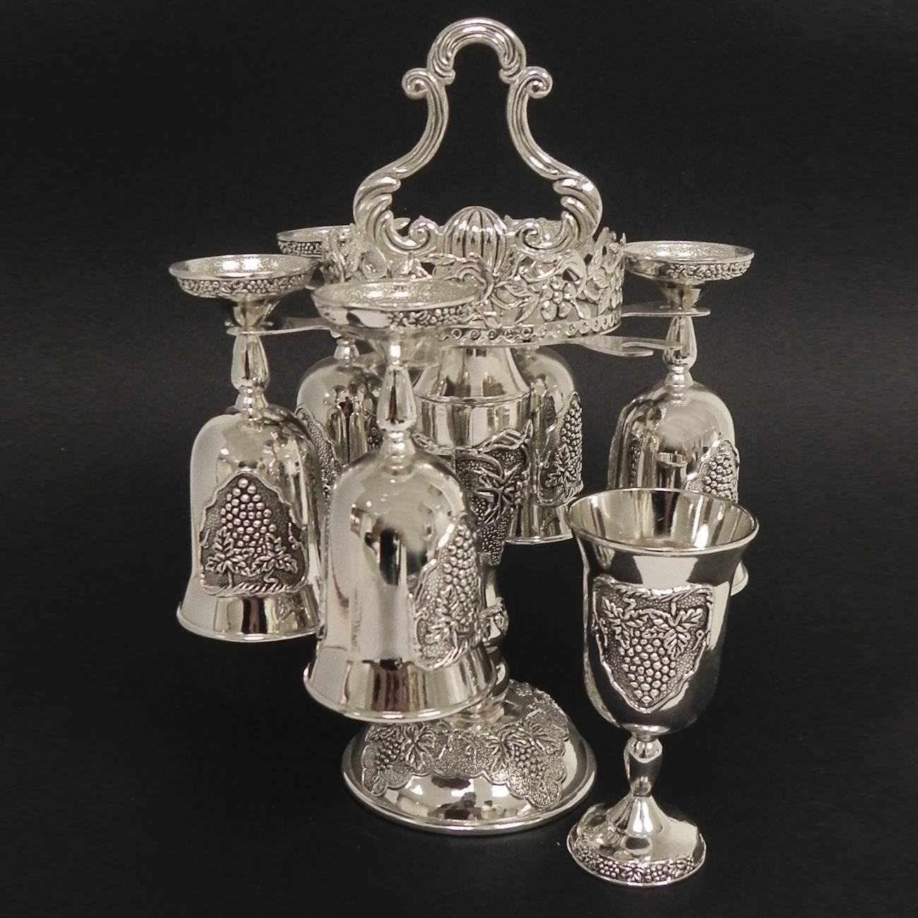 Suporte com 6 Taças para Vinho em Zinco - Prestige - 20x15 cm