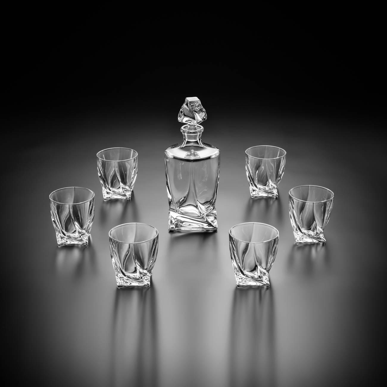 Conjunto Garrafa e Copos para Whisky Grande - 7 Peças - em Vidro - 850 ml - Bohemia Crystalite