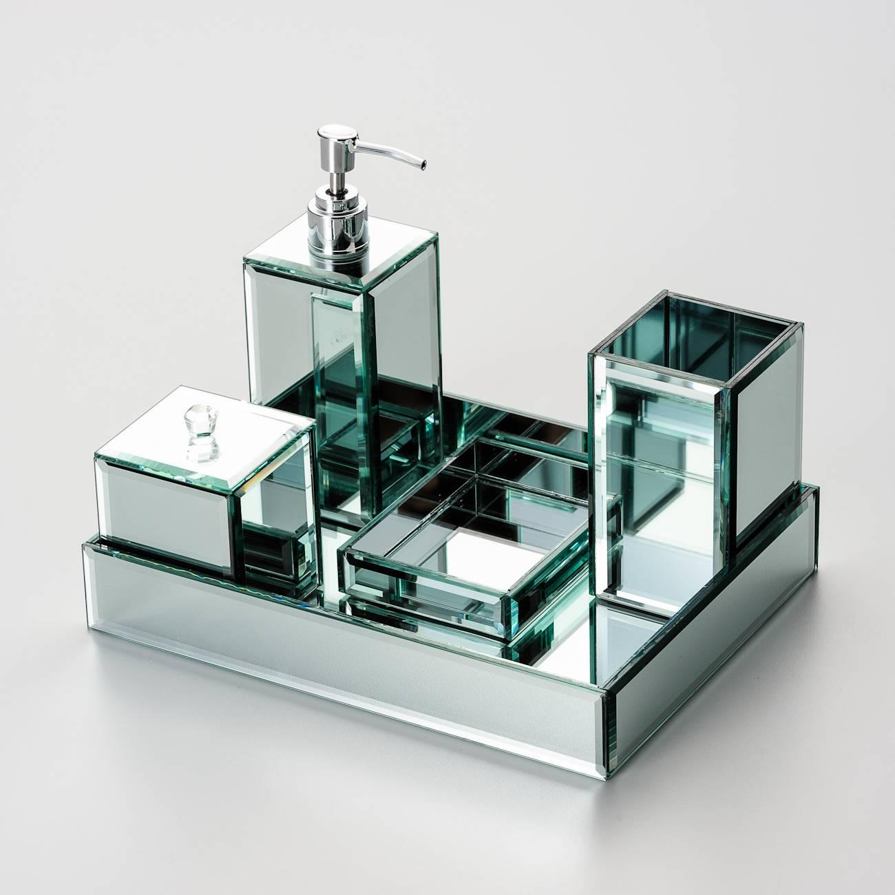 Jogo para Banheiro Diamond 5 Peças em Vidro Espelhado - Prestige