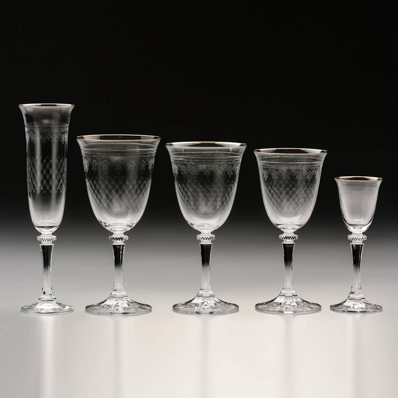 Conjunto de Taças Kleopatra Pantografadas Prateado - 30 Peças - em Cristal - Bohemia