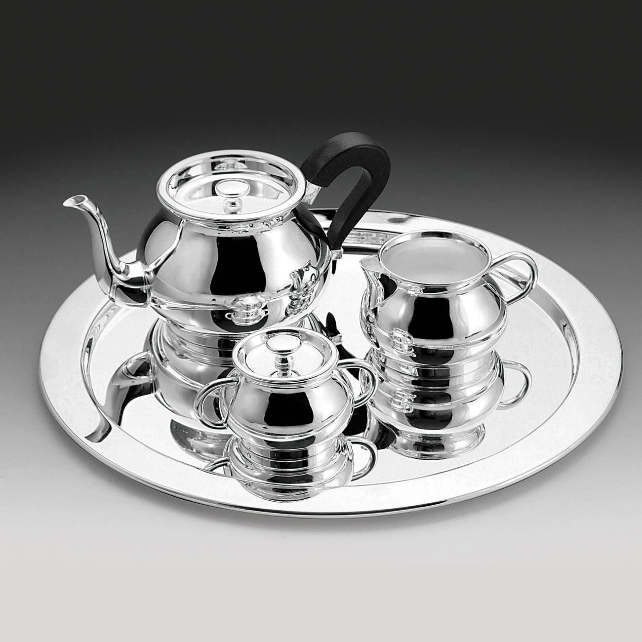Jogo p/ Café com Bandeja - 4 Peças - Tete-a-Tete - em Prata - Wolff - 31 cm