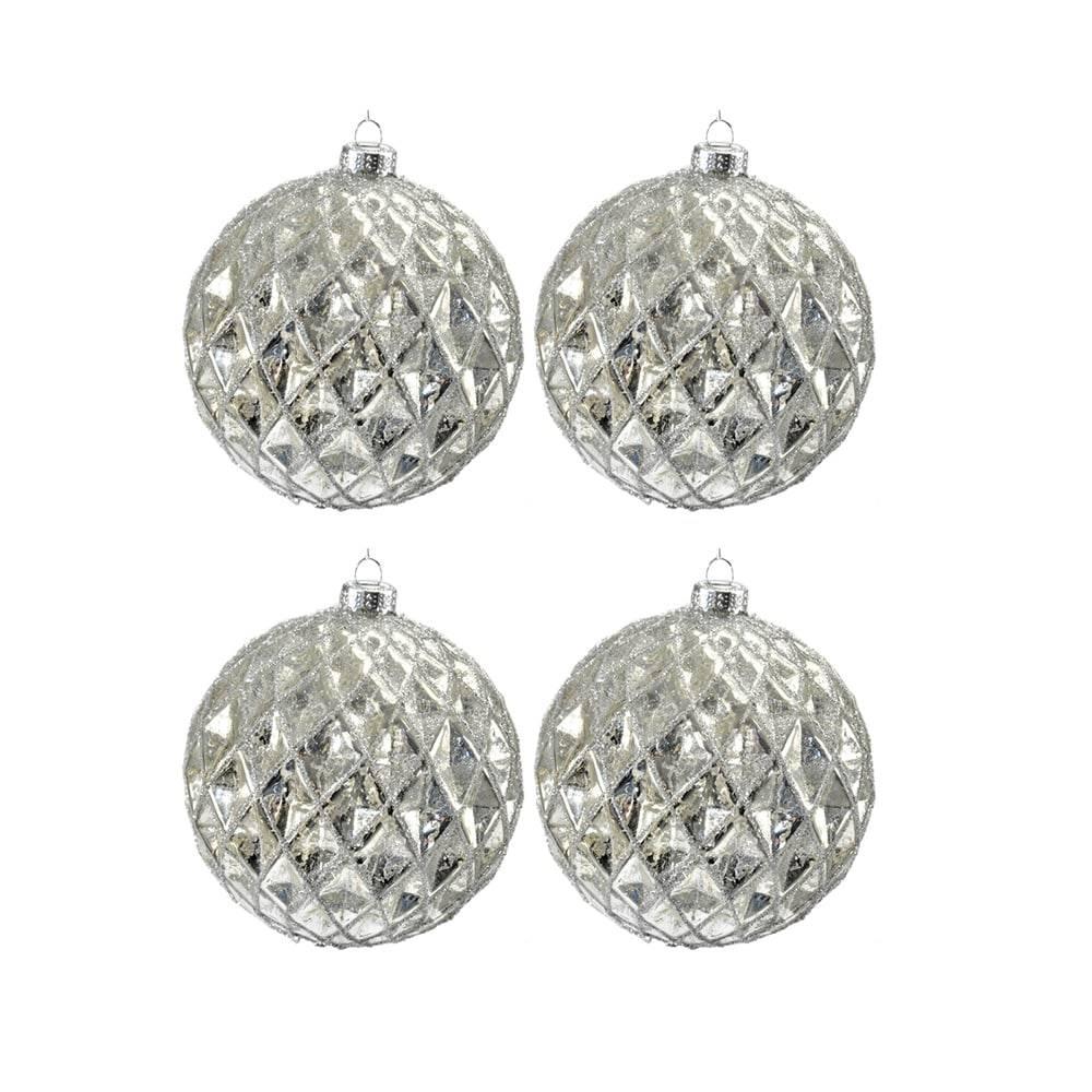 Jogo 4 Bolas de Natal Checked Prata em Vidro - 10x10 cm