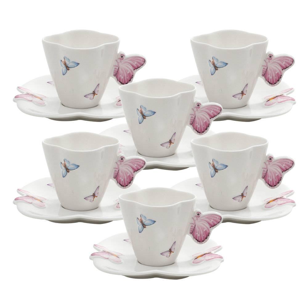 Jogo 6 Xícaras para Café Borboletas - 100 ml - em Porcelana - Wolff - 12,5 cm