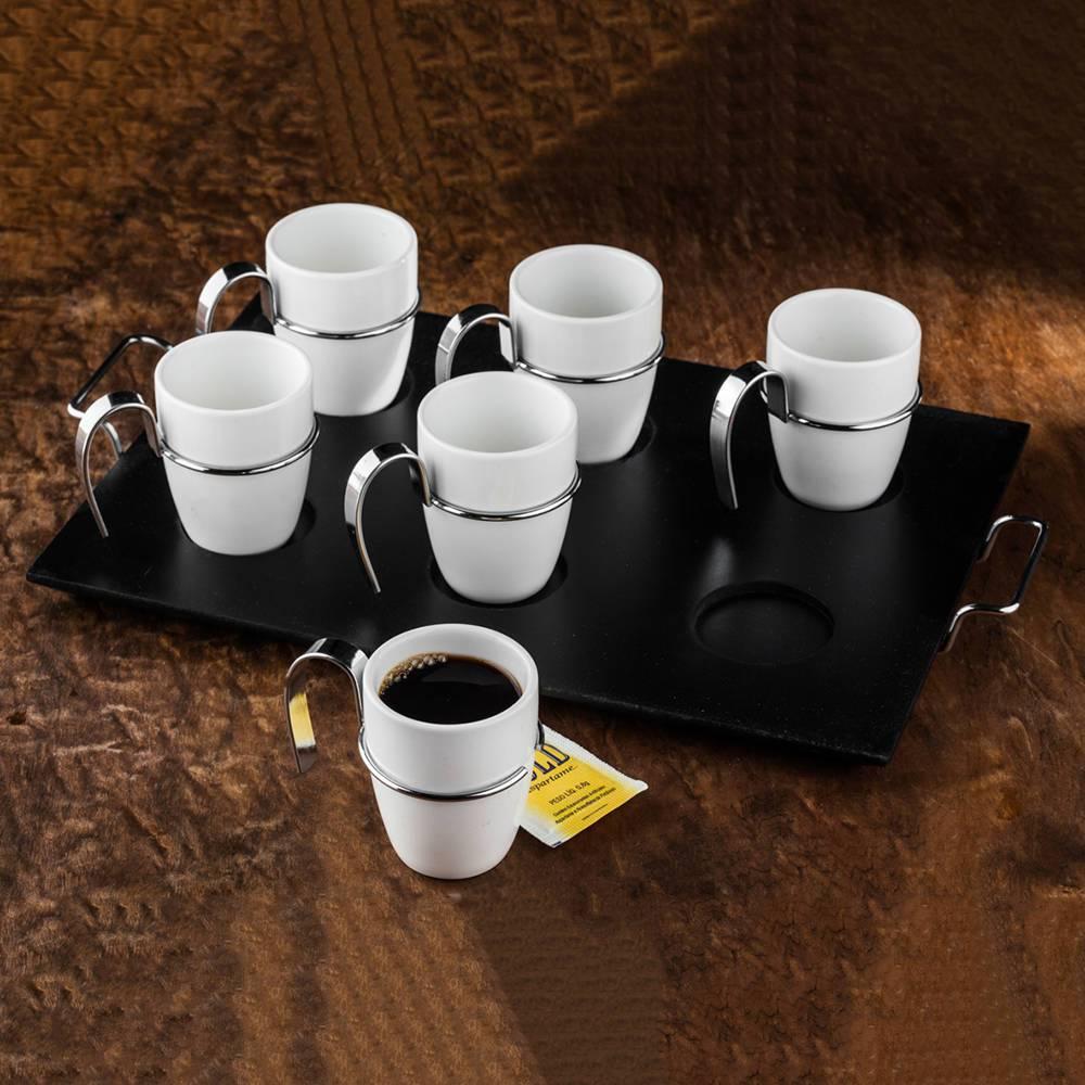Jogo 6 Xícaras para Café com Cabo de Metal em Porcelana - Wolff