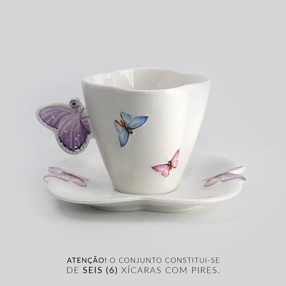 Jogo 6 Xícaras para Chá Borboletas - 200 ml - em Porcelana - 13,5x8 cm