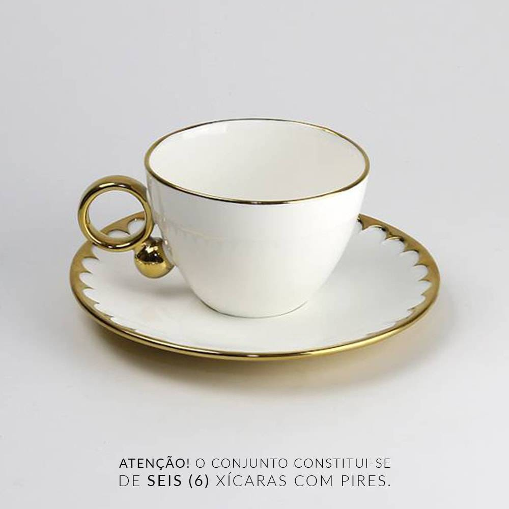 Jogo 6 Xícaras de Chá com Pires Egg - 200 ml - em Porcelana - Wolff