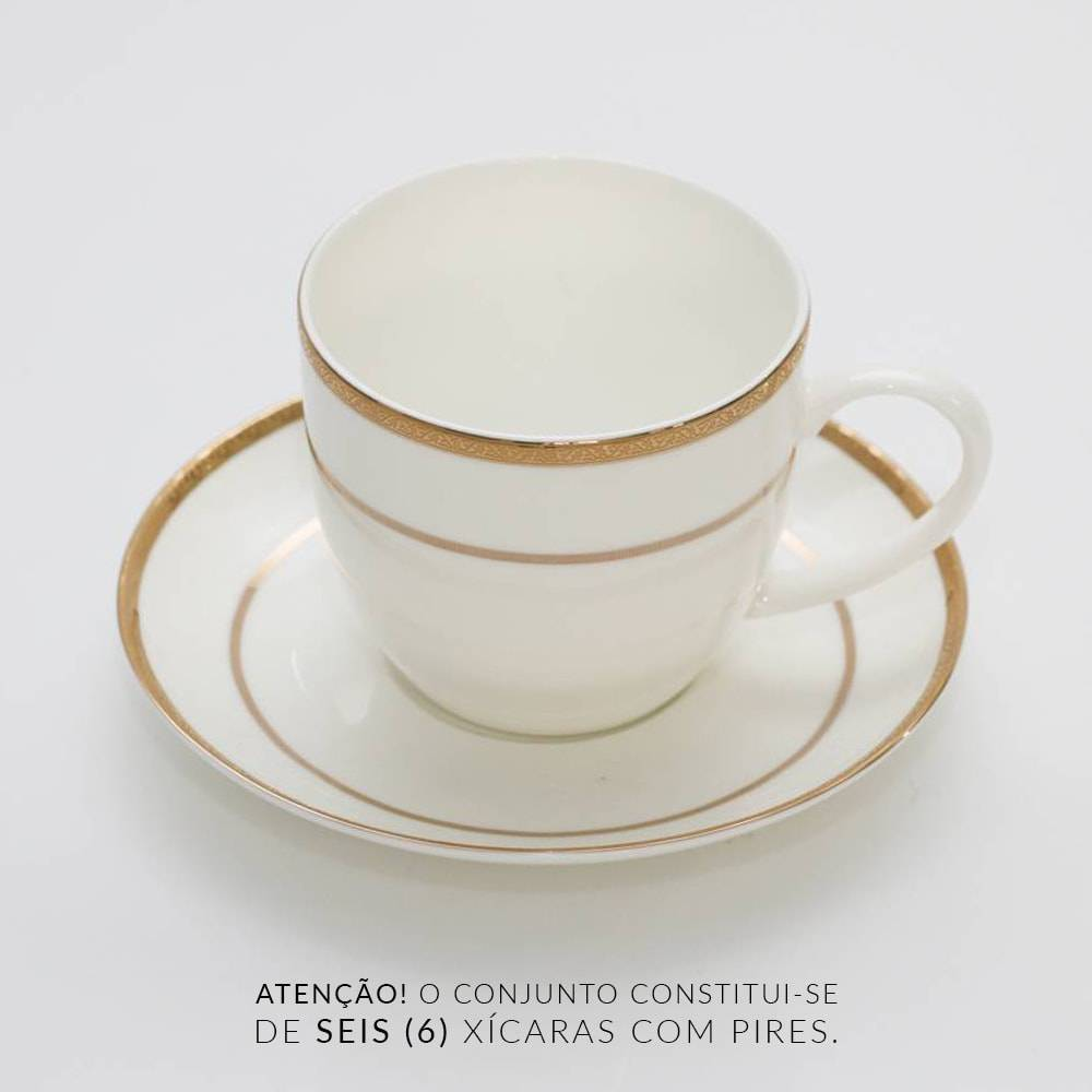 Jogo 6 Xícaras de Chá - com Pires - Gold Alto Relevo em Porcelana - Wolff