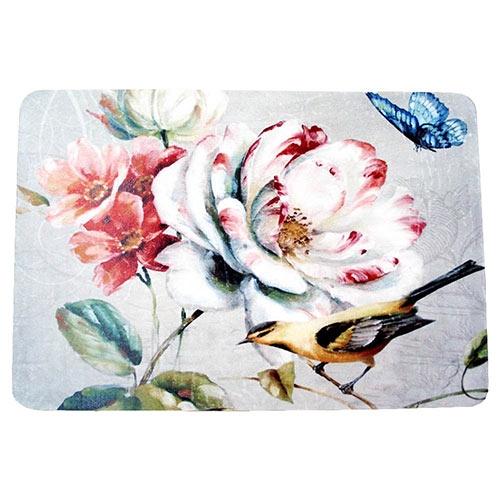Jogo Americano Pássaro Amarelo e Flores em MDF - 30x40 cm