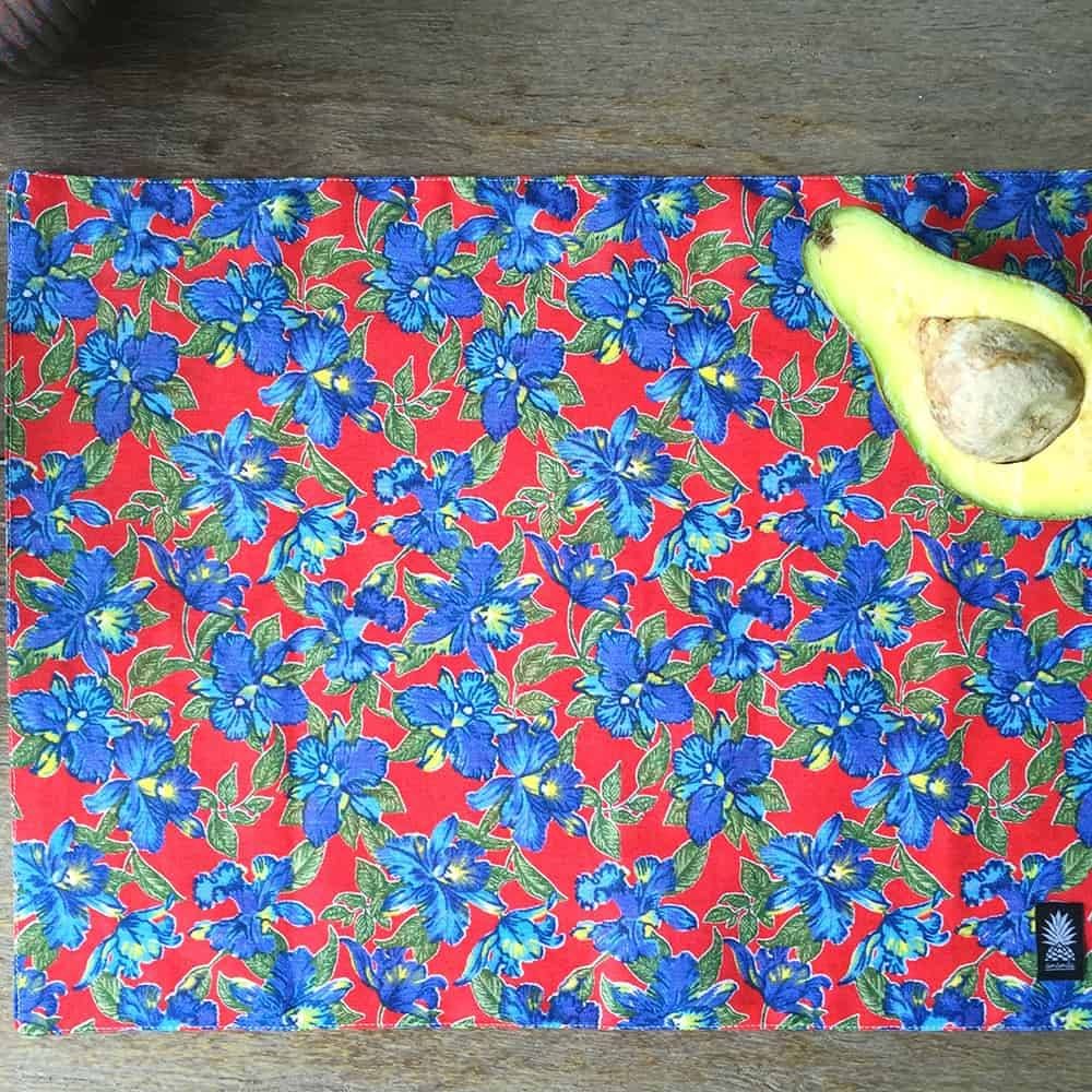 Jogo Americano Plage Fleur Flores Hibiscus Azuis em Algodão - 48x34,5 cm