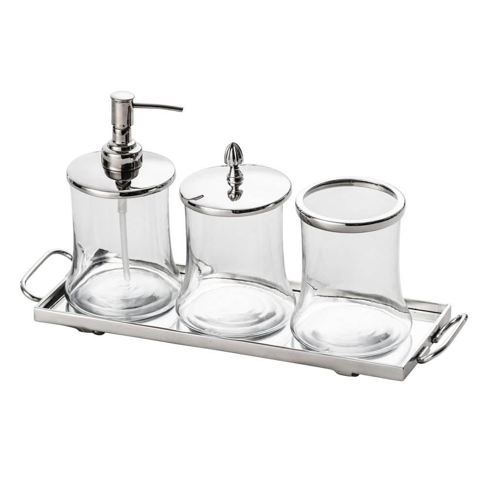 Jogo para Banheiro Lolita 4 Peças em Vidro e Latão - Lyor Design - 44x29 cm