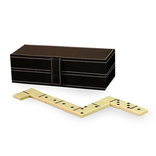 Jogo de Dominó com Caixa em Couro/Camurça - 21x9 cm