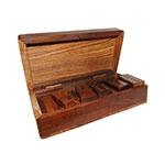 Jogo de Dominó em Madeira com Box Oldway - 15x8 cm