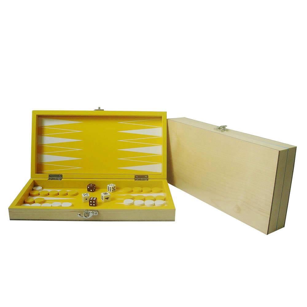 Jogo de Gamão Deluxe Amarelo em Madeira - Urban - 30x17,5 cm